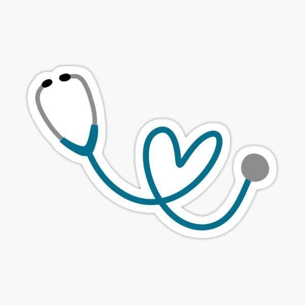 Blue Heart Stethoscope Sticker