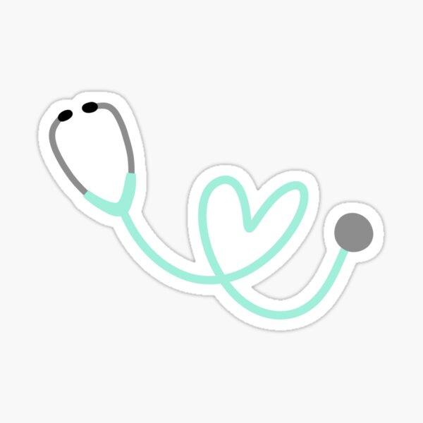 Mint Heart Stethoscope Sticker