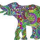 Bright colorful floral elephant illustration by artonwear