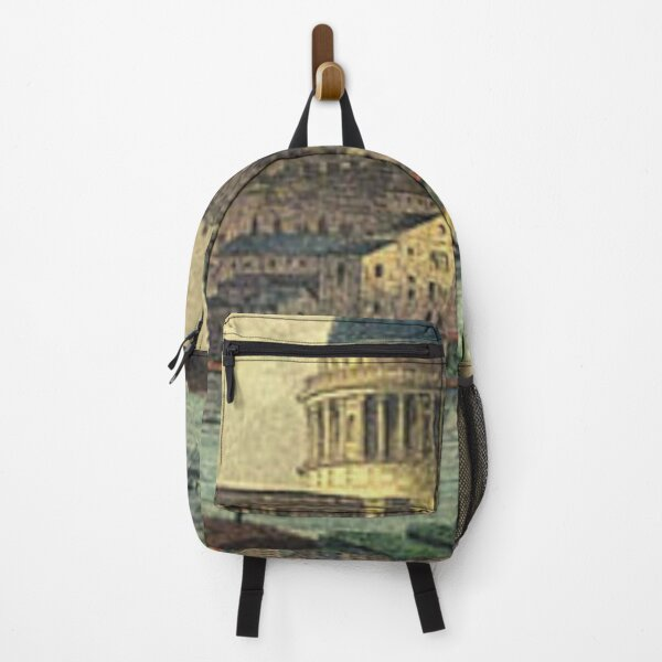 London  vintage Victorian skyline with St Paul's Cathedral and River Thames  illustration  Backpack