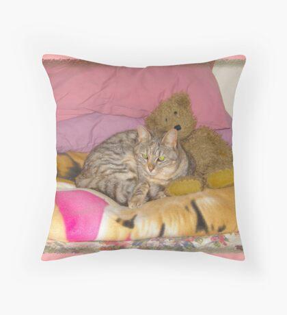 Okay so I still sleep with teddy , hes scared of the dark... Throw Pillow