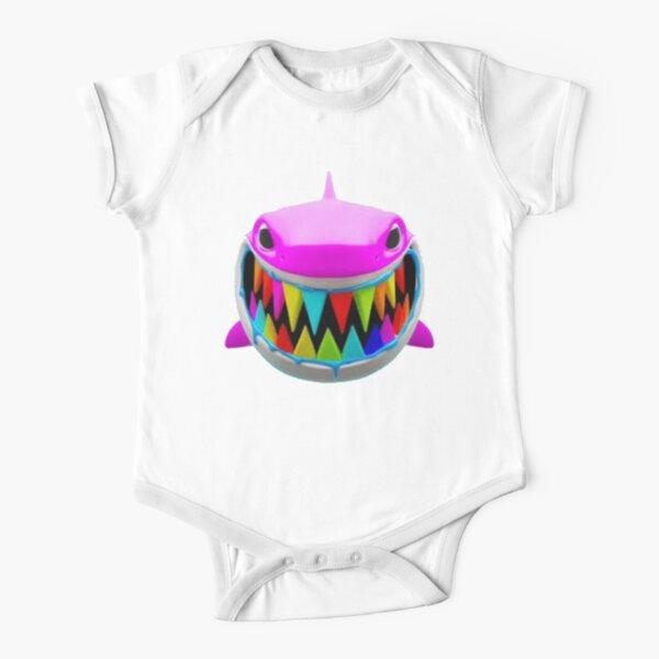 Rainbow Troll Shark (Pink) Short Sleeve Baby One-Piece