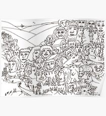 Peoplescape drawing Poster
