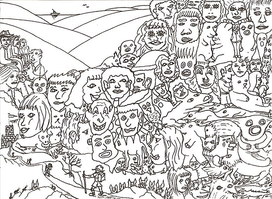 Peoplescape drawing by David Fraser