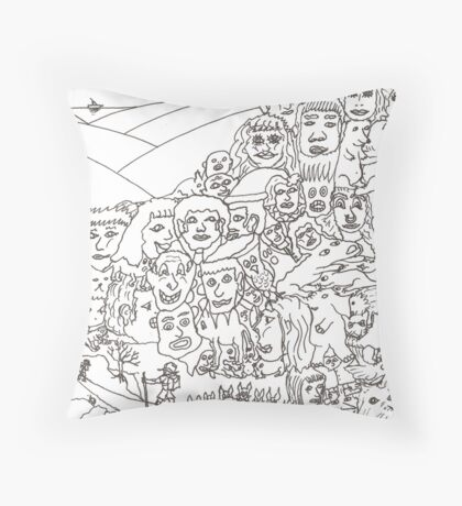 Peoplescape drawing Throw Pillow