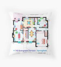 House of Simpson family - Ground Floor Throw Pillow
