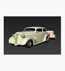 1937 Chevrolet Custom Sedan Hot Rod with a Trailer Photographic Print