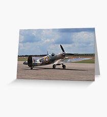 Spitfire on Runway Greeting Card