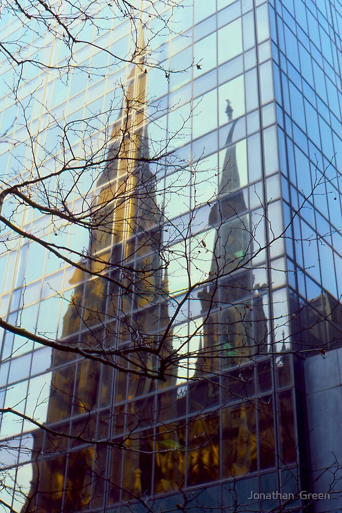 NYC Cathedral Reflection  by Jonathan  Green