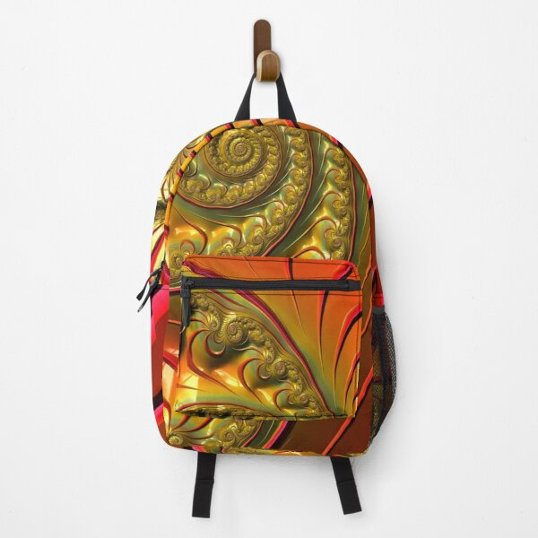Tequila Sunrise - Summery Orange Yellow and Gold Tropical Fractal Backpack