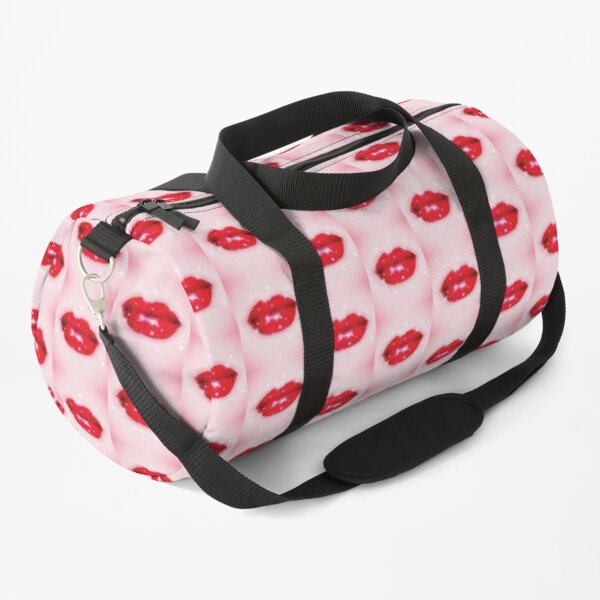 cute smile mouth face mask girl with makeup with a red lipstick kiss, COVID 19  humor face covering a cute face covering while social distancing  Duffle Bag