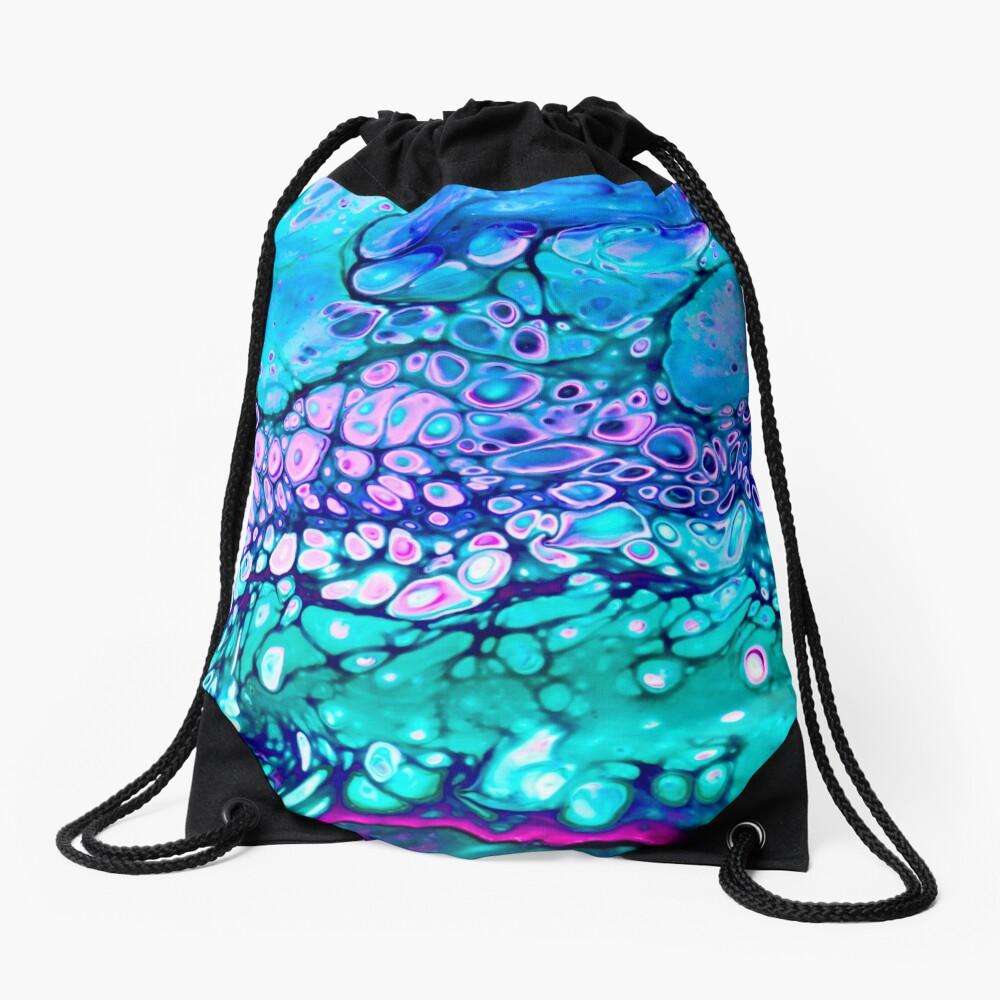 """""""Galaxy Cells"""" Acrylic Pour Design Drawstring Bag"""