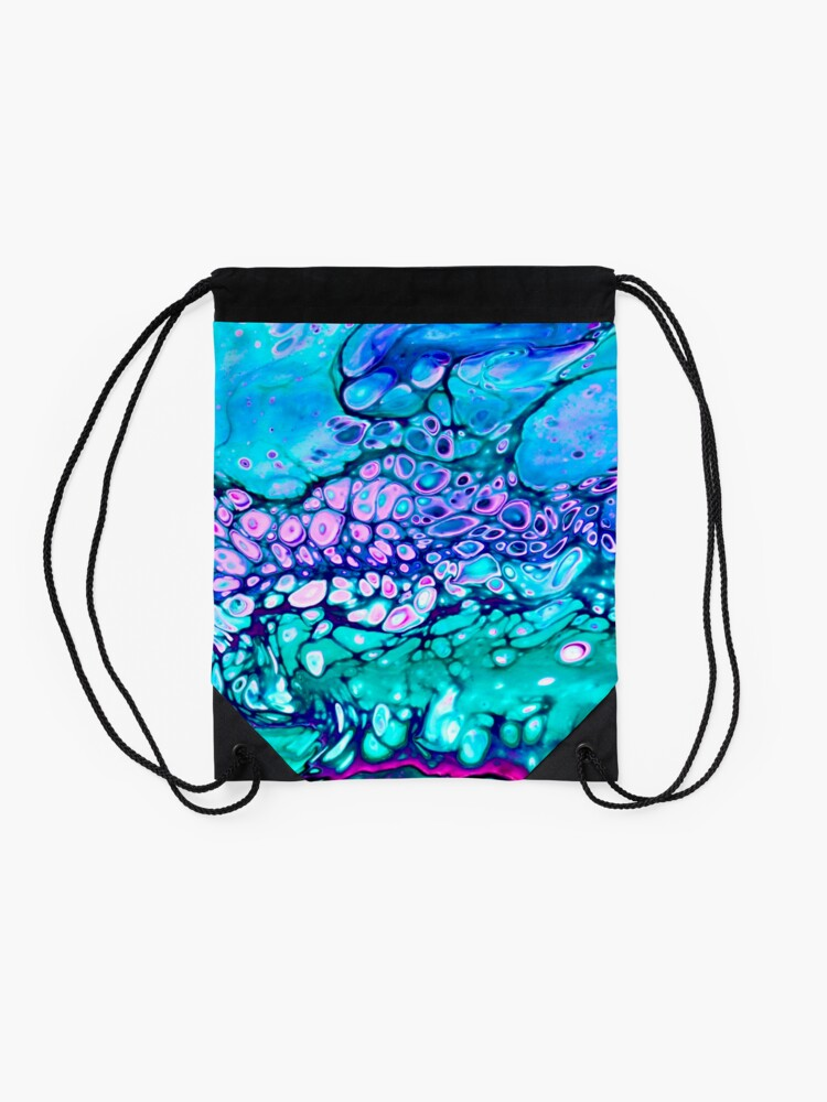 """Alternate view of """"Galaxy Cells"""" Acrylic Pour Design Drawstring Bag"""