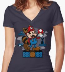 Vintage Mario Women's Fitted V-Neck T-Shirt