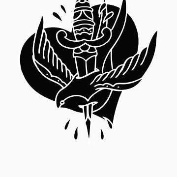 Traditional Swallow & Dagger (swallow, heart, dagger) by NateLuna