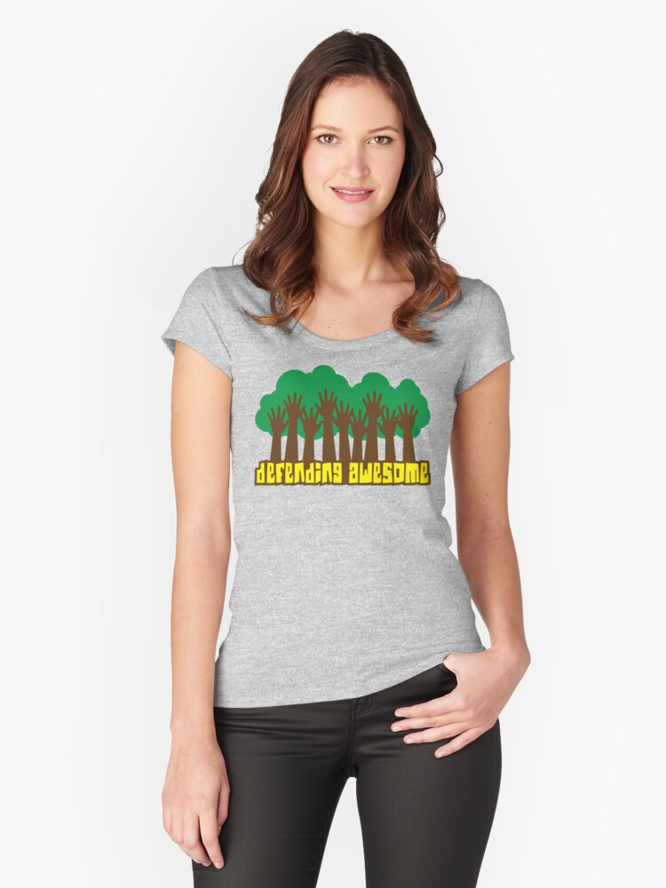 Defending Awesome - High Five Trees Women's Fitted Scoop T-Shirt Front