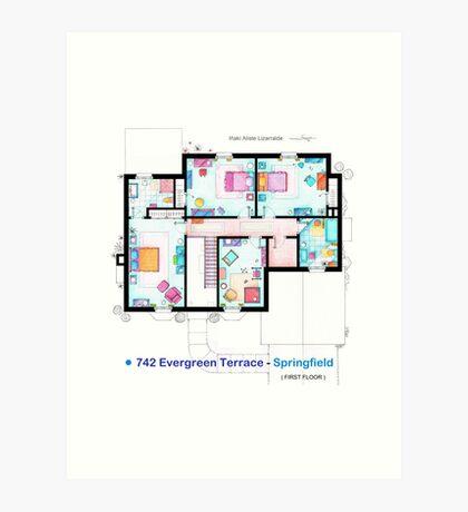 House of Simpson family - First Floor Art Print