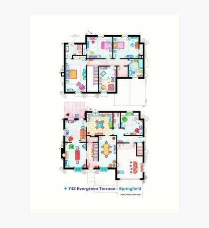 House of Simpson family - Both floors Art Print