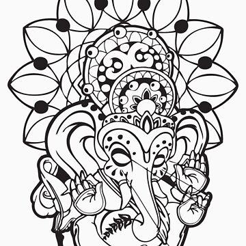 Ganesh (black outline style) by NateLuna