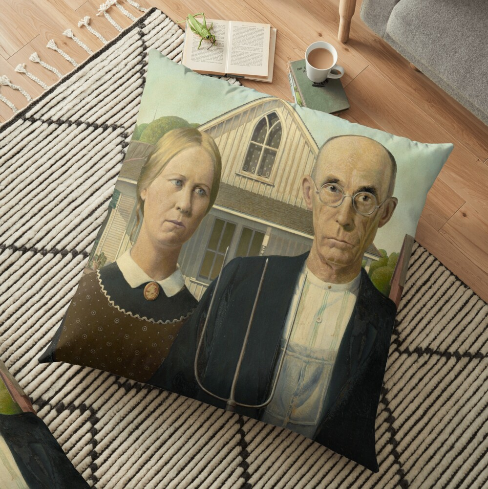 Painting Art Grant Wood Paintings Artist American Gothic Floor Pillow By Sasyjamart Redbubble