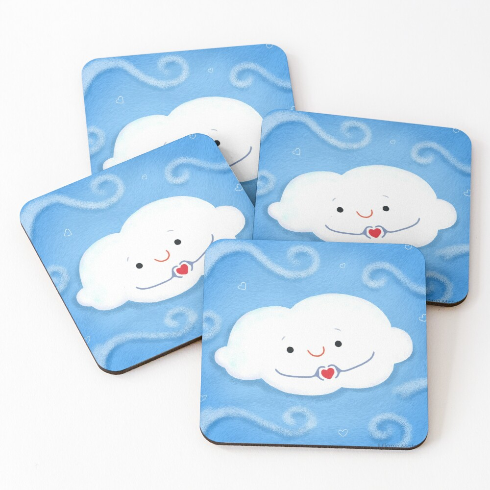 Cloud doing a heart with hands Coasters (Set of 4)