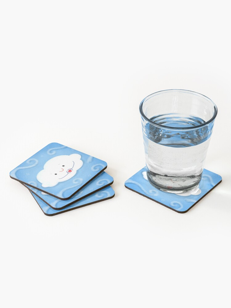 Alternate view of Cloud doing a heart with hands Coasters (Set of 4)