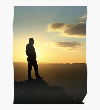 Mountaintop silhouette Poster