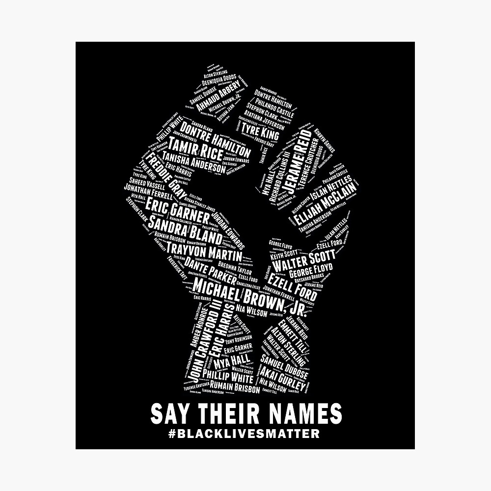 Black Lives Matter Say Their Names Poster By Shaggylocks Redbubble