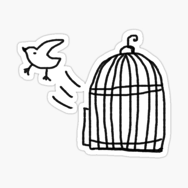 Bird Escaping Cage Birdcage Doodle Drawing Sticker