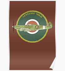 RAF MKII Spitfire Vintage Look Fighter Aircraft Poster