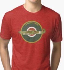 RAF MKII Spitfire Vintage Look Fighter Aircraft Tri-blend T-Shirt