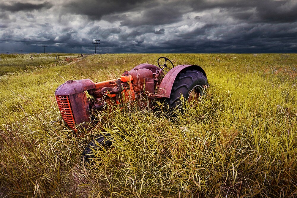 Abandoned Farm Tractor on the Prairie by Randall Nyhof