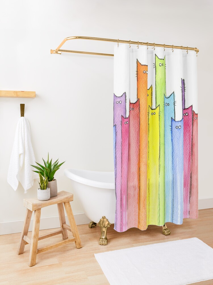 Alternate view of Rainbow of Cats Shower Curtain
