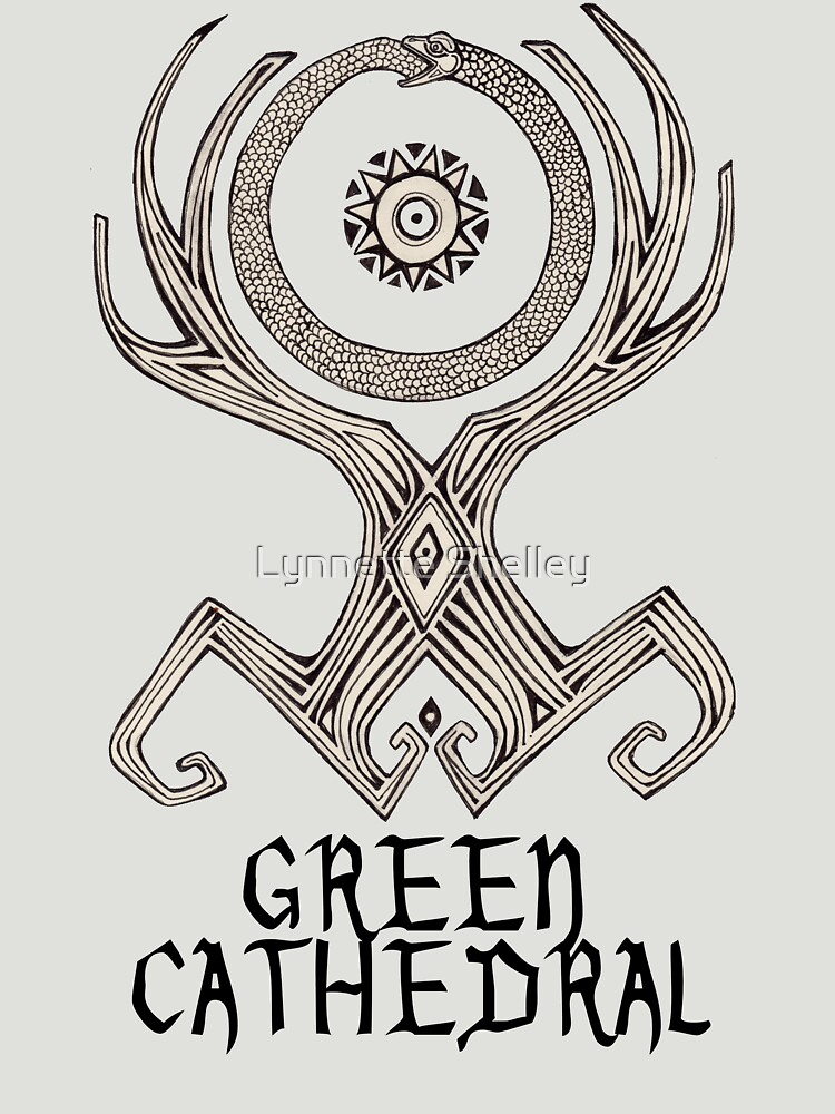 Green Cathedral Tee Design (for light colored shirts) by LynnetteShelley