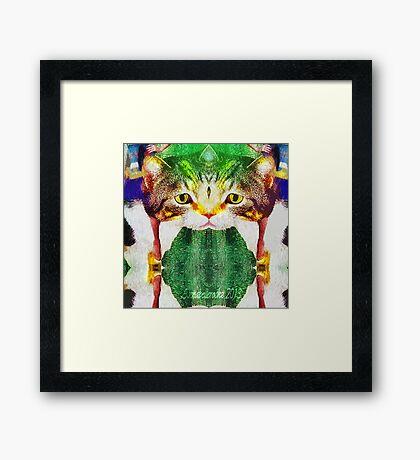 Fractal cat Framed Print