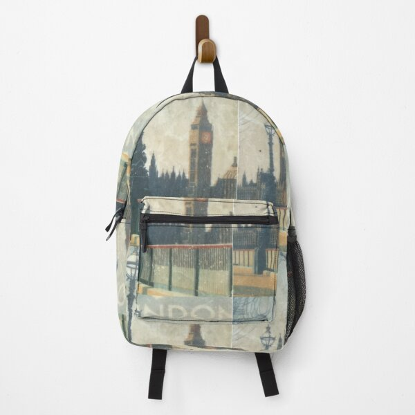 London skyline view of Westminster Abbey and Big Ben, antique  Victorian painting from Victorian era Backpack