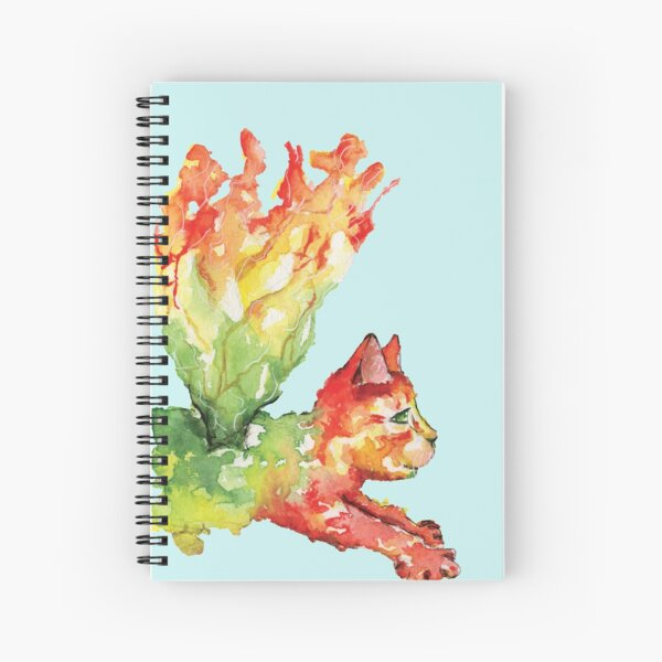 Heart Chakra Cat with Wings Spiral Notebook