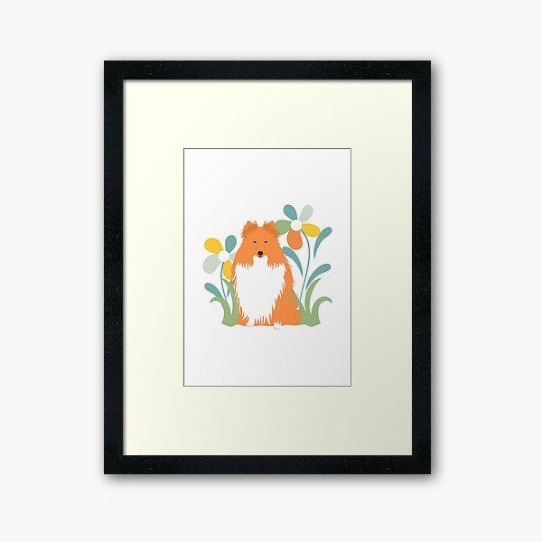 Shetland Sheepdog and Flower Framed Art Print