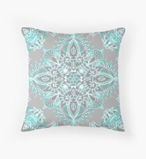 Teal and Aqua Lace Mandala on Grey Throw Pillow
