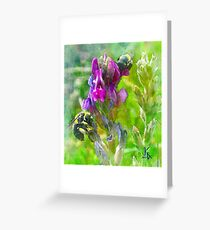 Floral Design Bumblebees and Flowers Greeting Card
