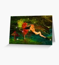 Dancing Auroras - Orange Fairy Greeting Card