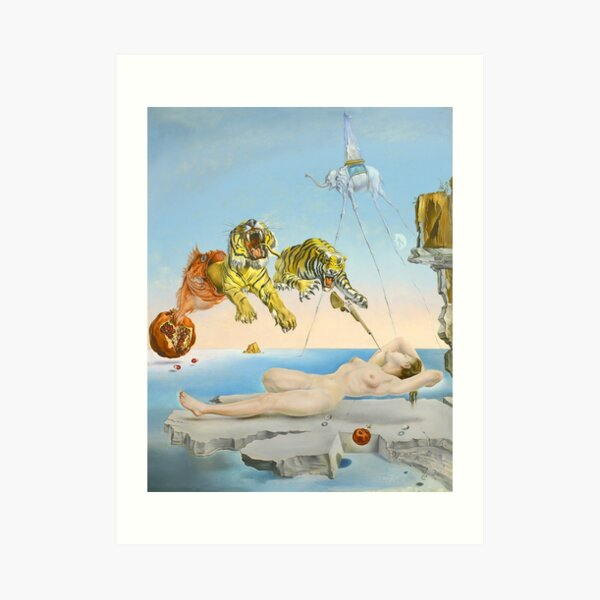 Dream Caused by the Flight of a Bee around a Pomegranate a Second before Waking - Salvador Dalí (1944) Art Print