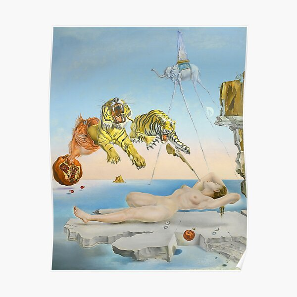 Dream Caused by the Flight of a Bee around a Pomegranate a Second before Waking - Salvador Dalí (1944) Poster