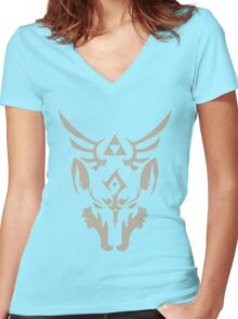 Wolf Link Blue Eyed Beast Women's Fitted V-Neck T-Shirt