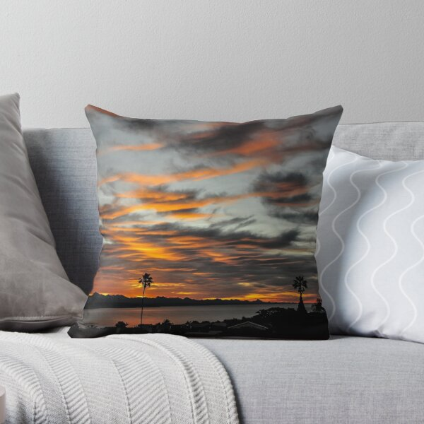 Sunrise with dark shade clouds Throw Pillow