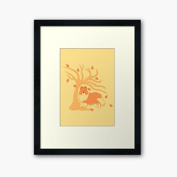 Shetland Sheepdog in Autumn Framed Art Print