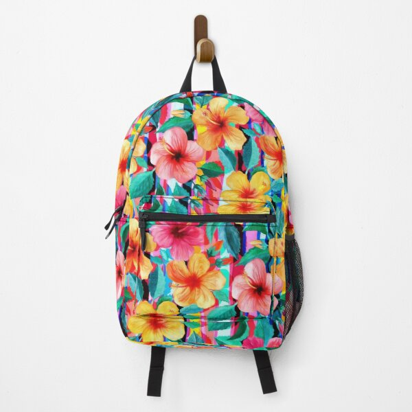 OTT Maximalist Hawaiian Hibiscus Floral with Stripes Backpack