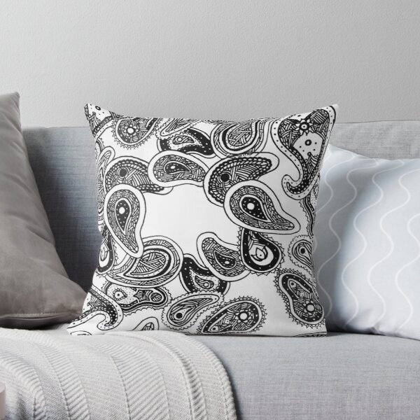Jiggy Paisley Spirals Throw Pillow