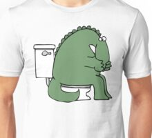 Funny Dinosaur on Toilet Unisex T-Shirt