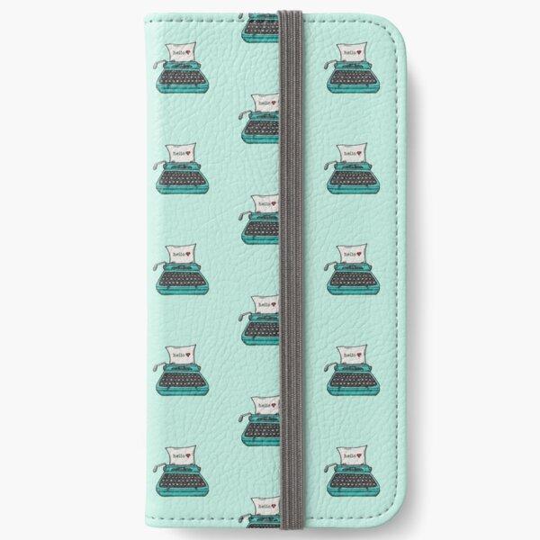 Retro Typewriter in Aqua Blue iPhone Wallet